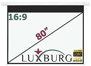"""Luxburg® 80"""" Full HD 3D Écran de Projection Motorisé avec Enroulage/Déroulage electrique - Écran Blanc Opaque 186x104 cm pour Mur ou Plafond - avec Télécommande"""