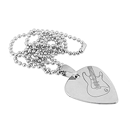 BQLZR 500mm Length Chain Silver Metal Heart Shape Guitar Pattern Guitar Pick Necklace Holder