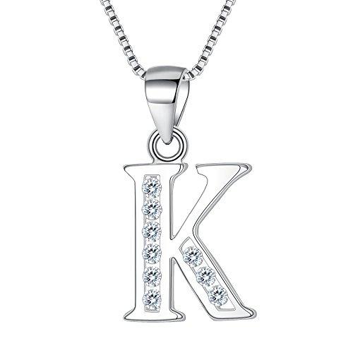 """Clearine Halskette Damen 925 Sterling Silber CZ 26 Buchstabe Alphabet Personalisiert A biz Z Anhänger Hals-Schmuck""""K"""""""