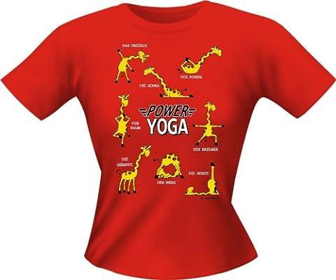 Rahmenlos Fun-Lady-T-Shirt: Yoga Giraffe - Geschenkidee - 100% Baumwolle - Top Qualität , Mehrfarbig:Bunt;Größe:L