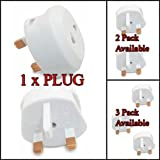 MSC - EU US 2 Pin To UK 3 Pin Travel AC Power Adapter Plug Converter Adaptor Plug White1 Pack
