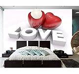 Weaeo Benutzerdefinierte Valentinstag Herz 3D Geprägte Tapete Wohnzimmer Sofa Tv Wand Thema Zimmer Tapeten Wandbilder 3D-450X300CM