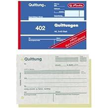 Herlitz 7876147 Quittungsblock A6 402 2x40 Blatt, 4er Packung, selbstdurchschreibend