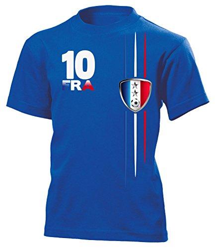 Frankreich Fanshirt Streifen 2 Sterne 6101 Kinder T-Shirt (K-B) Gr. 122