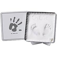 Baby Art - Magic Box - Confezione in metallo con pasta modellabile per calco delle manine o dei piedini bebè