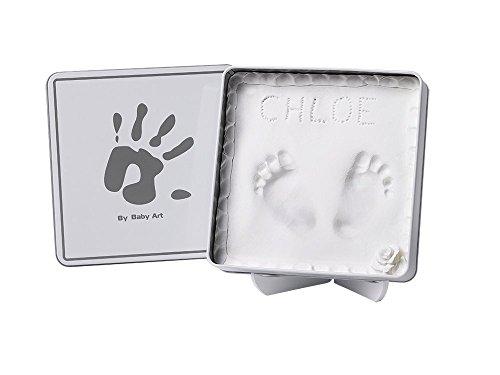 Baby Art One Step Geschenkbox zur Geburt oder Taufe, Magic Box Hello Baby mit Hand oder Fußabdruck zum aufstellen, eckig, weiß