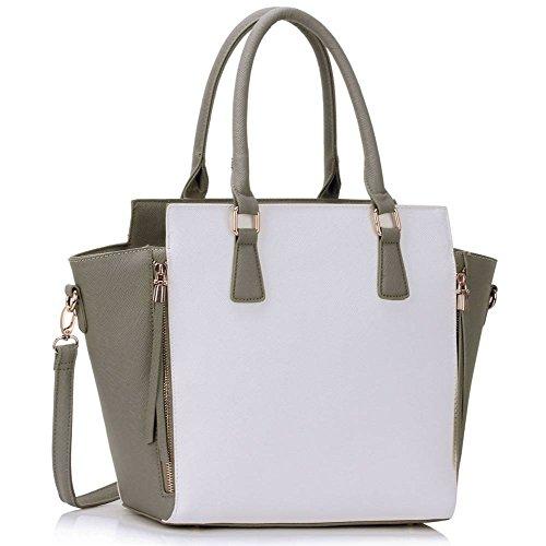 Meine Damen Umhängetaschen Frauen Große Designer Handtaschentoteschulterkunstleder Modische Taschen (A - Schwarz) Grau/Weiß