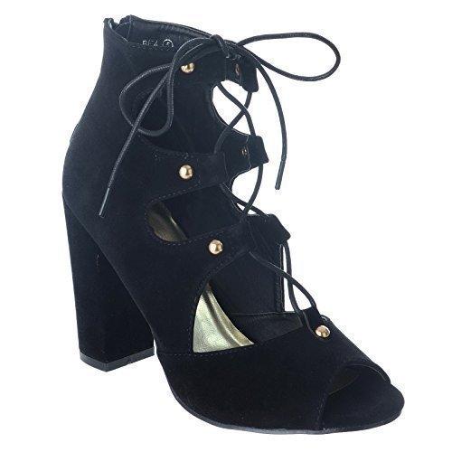 NUOVO da donna BLOCCO tacco alto zip punta aperta con lacci BORCHIA Cut Out Stivali alla caviglia taglia Nera Pelle Scamosciata