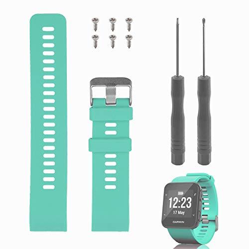 """Rukoy Reemplazo de Banda para Garmin Forerunner 35, Reloj Correa de Repuesto de Silicona Suave para Garmin Forerunner 35 Reloj Inteligente, Ajuste 5.56""""-7.96"""" (139mm-199mm) muñeca (Verde Menta)"""