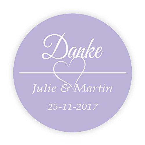 ochzeitssticker - Lila Hochzeit 'Danke' Aufkleber - 4 cm Runde Papieraufkleber für die Hochzeit,Gastgeschenk,Tischdeko,Flaschen,Tüten,Briefen,Einladungen - Rd 072 ()