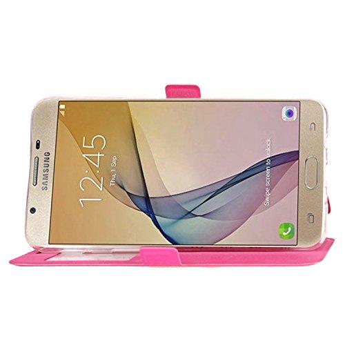 Für Samsung Galaxy J5 Prime Case Cover Horizontale Flip Stand Case mit transparenten Fenster & Karten Slots & Magnetic Closure ( Color : White ) Rose