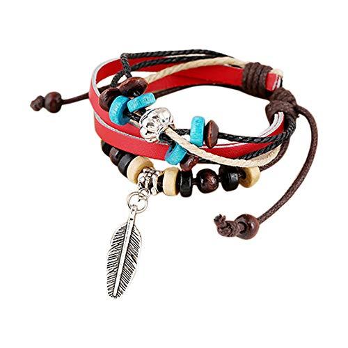 Hand Gewebt Leder (Wansan Feather Charm Bracelet böhmische Elegante Multi-Strang gewebt Leder Bead Hand Kette einstellbar rot)