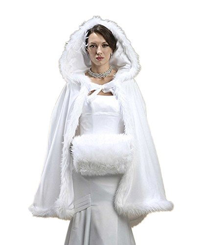 RMdress Brautkleider Warm Winter Pelz Jacke Mit Kapuze Cape Hochzeit Schal Brautverpackungs...