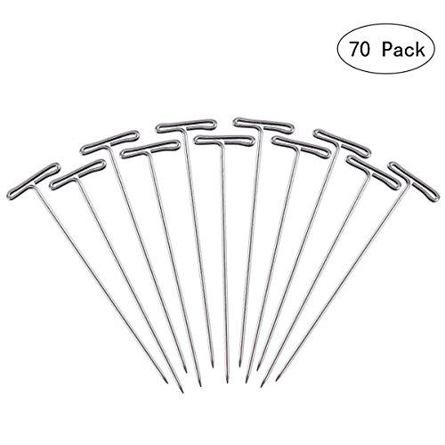 Frcolor 100pcs Perruque T-Pins 53mm avec boîte en plastique pour bloquer tricotage modélisation artisanat