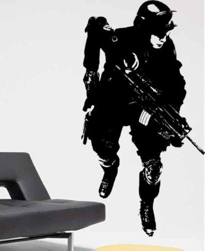Wandtattoo Militär Soldat Armee Mann Junge Zimmer Vinyl Aufkleber Aufkleber für raumdekor 89 * 45 cm