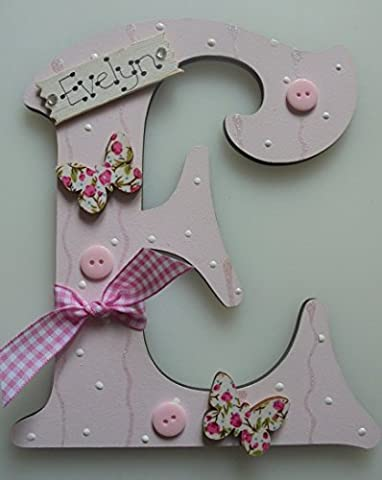 Butterfly Wooden Letter **ANY LETTER with ANY NAME** Available Personalised (LIGHT PINK)