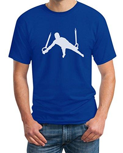 Männer Turner Silhuette Fanartikel Geschenk T-Shirt Medium Blau (Trikots Turner)