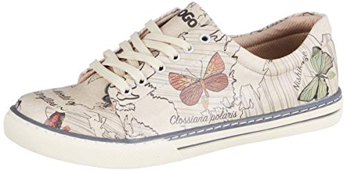 DOGO Damen The World of Butterflies Sneaker, beige, 38 EU