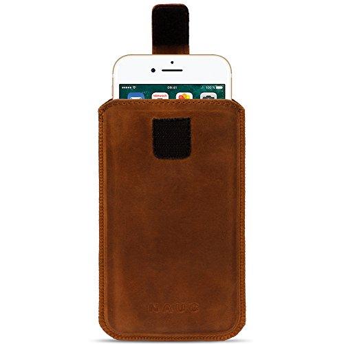 Apple iPhone 8plus Étui en cuir Housse Coque de protection pull tab en cuir cognac marron