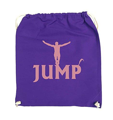Comedy Bags - JUMP - FIGUR - Turnbeutel - 37x46cm - Farbe: Schwarz / Silber Lila / Rosa