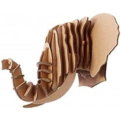 Escultura Cabeza Animal Elefante 3D En Cartón, Escultura Para Decoración de Pared DIY