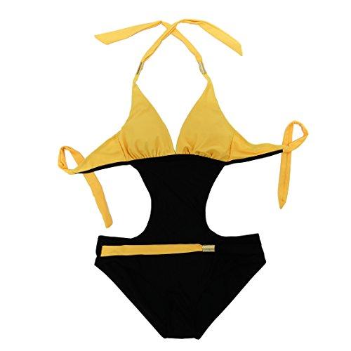 GWELL Damen Badeanzug Monokini Neckholder Badeanzug Gelb Schwarz