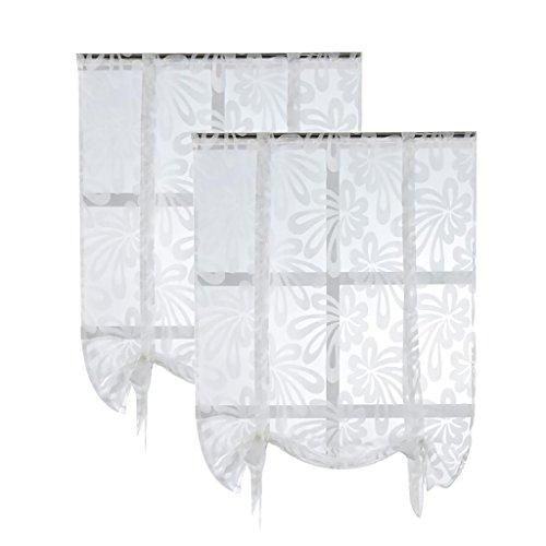 petsola 2pcs Binde Jacquard Römischen Fenster Vorhang Schiere - Weiß, 120x160cm