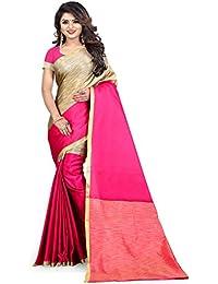 Aksh Fashion Women's Emblished Dailywear Banarasi Cotton Silk Saree With Blouse(/