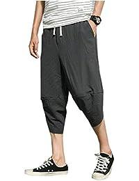 Yasminey Pantalones Harem Capri Casual para Harem De Hombre Pantalones  Harem Pantalones Cintura Elástica Joven Bolsas 45e218acc48