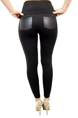 Berry® Sexy London Look Leggings mit Latex Taschen Superstretch Rautenmuster Hohe Taille Hüfthoch Strumpfhose Damen Leggings S M L XL XXL 3XL 4XL Schwarz