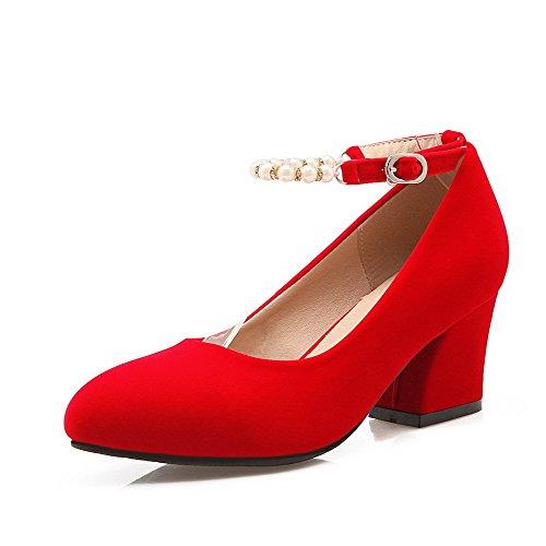 AllhqFashion Damen Mittler Absatz Eingelegt Rund Zehe Ziehen auf Stiefel, Rot, 42