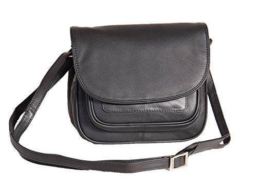 Femmes Doux NOIR Sac à Bandoulière En Cuir Petit Style Classique Multi Zip Poches Flap Over Cross Body Bag - A94