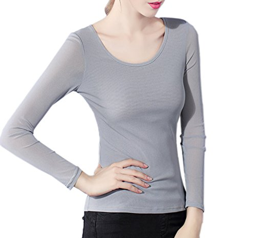 Smile YKK T-shirt Grande Taille Femme Tulle Pull Blouse Chemise Manches Longues Col Rond Mode Gris
