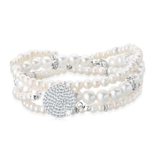 Perlu Damen-Armband 925 Sterling Silber mit Kristallen von Swarovski Länge 18cm