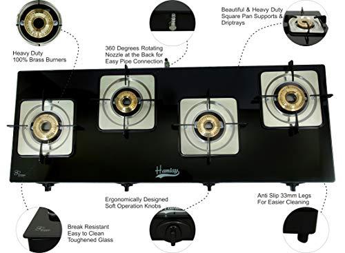Hamlay Toughened Glass Burner Auto Ignition Gas Stove (4 Burner LPG Compatible Black)