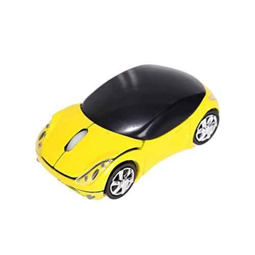 samLIKE 丨 Creative Maus 丨 Auto Form 丨 Kabellos 2.4 GHz 丨 1200 DPI 丨 Optische Mouse 丨 USB Scroll Mäuse 丨 für Tablet Laptop PC 丨【Die Coolste Mouse Dieses Jahr ✌️】 (❤️ Gelb) -