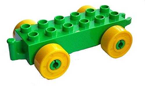 Lego Duplo Auto Anhänger Stein 2x6 hellgrün + gelbe Räder Eisenbahn