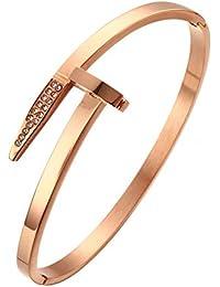 37e9f4daeb32 Pulsera de oro rosa con flecha de acero de titanio y cristales de Swarovski