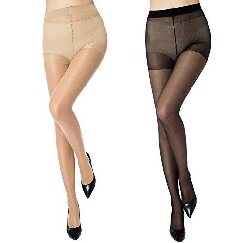 MANZI Damen Packung mit 6 Ultra-dünnen weichen Strumpfhosen mit Comfort Stretch 20 Denier (Top Plus Control Größe-strumpfhosen)