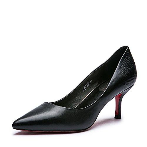 Dame en noir de chaussures légères/Cuir de peau de mouton chaussures chaussures à talon B