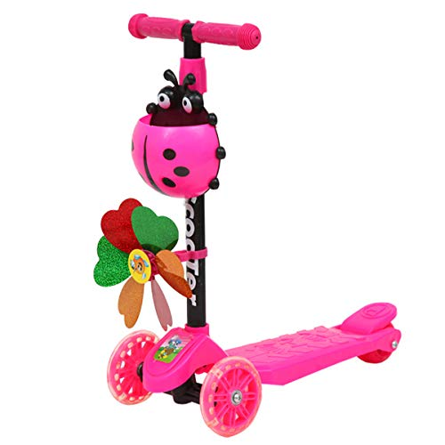 siwetg Windmill Ladybug - Monopattino pieghevole e regolabile in altezza, con 3 ruote per bambini, ragazzi, ragazze, età 3-8 rosa.