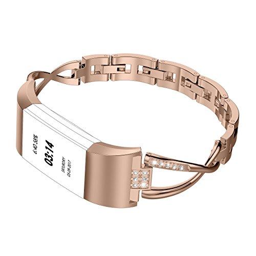 Für Fitbit Charge 2 Armbänder, Wearlizer Metall Replacement mit Strasssteine Wrist Band Bänder Watchband Uhrband Uhrenarmband für Fitbit Charge Two - Silber / Schwarz / Rosa Gold / Gold