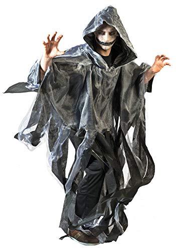 Geister Ghoul Umhang mit Kapuze - Grau - Gruseliges Halloween Ghul Gespenst Tod Zombie Kostüm Mottoparty oder Karneval (Geister Kostüme)