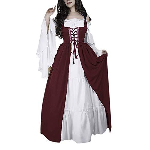 Fashion Nova Kostüm - REALIKE Damen Kleid Vintage Mittelalterliche Kleid mit Trompetenärmel Mittelalter Party Kostüm Maxikleid Sommer Abendkleid Partykleid Festlich Cocktailkleid Ballkleid