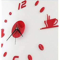 LuckES Creative Wall Clock 3D reloj de pared decoración para el hogar Room Wall Design Reloj de pared adhesivo decoración de hogar D arte 3d DIY (Batería No Incluida) (Rojo)