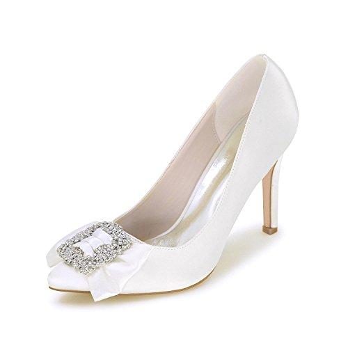 L@YC Donne Scarpe Da Sposa Scarpe Con Tacco alto Punta Di Pompa Satin Satin Wedding E Sera Cortili Di Grandi Dimensioni Multicolori White