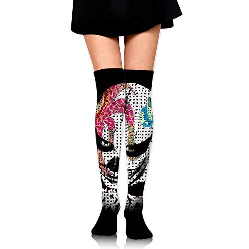 HRTSHRTE Cool Halloween Polka Dot Death Man Clown Skull Ankle Stockings Over The Knee Sexy Womens Sports Athletic Soccer Socks -
