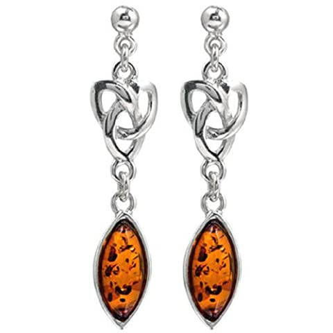 Baltic Honey Amber and Sterling Silver Celtic Earrings