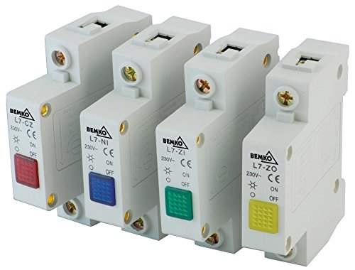 Verteiler-Einbaugeräte für Hutschiene Leuchtmelder Signal-Phasen-Kontroll-Leuchte (Leuchtmelder 1 Phase blau)