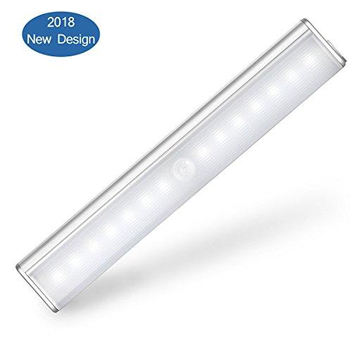 USB Nachladbares 14 PIR Schranklicht Bewegungs Sensor Licht, aufklebend Wand-drahtlose Bewegungs-aktivierte Lampe mit Magnet, 4 helle Betriebsarten, LED-Nachtlicht-Beleuchtung für Wandschrank-Schrank-Schrank-Treppenhaus-Flur-Waschraum (Wand Licht Sensor)